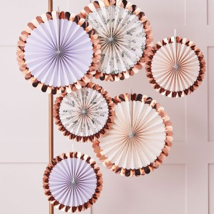 Tea Party Rose Gold & Floral Fan Decorations - pack of 6